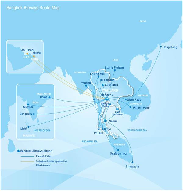 Карта рейсов авиакомпании Бангкокские Авиалинии